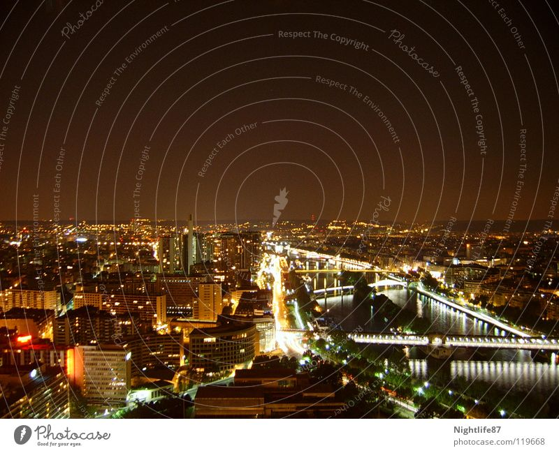 City Lighting Tall Bridge River Tower Paris Traffic infrastructure Night shot France Seine