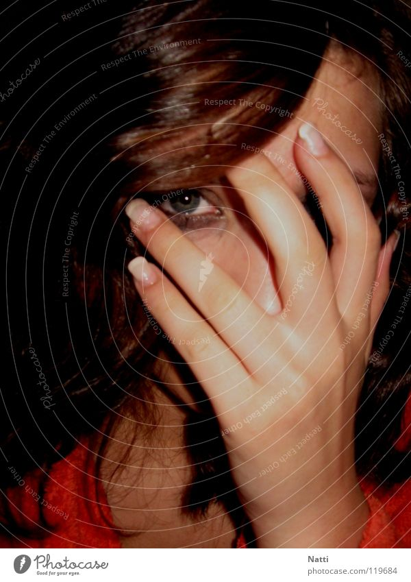 Hand Face Black Eyes Dark Emotions Grief Gloomy