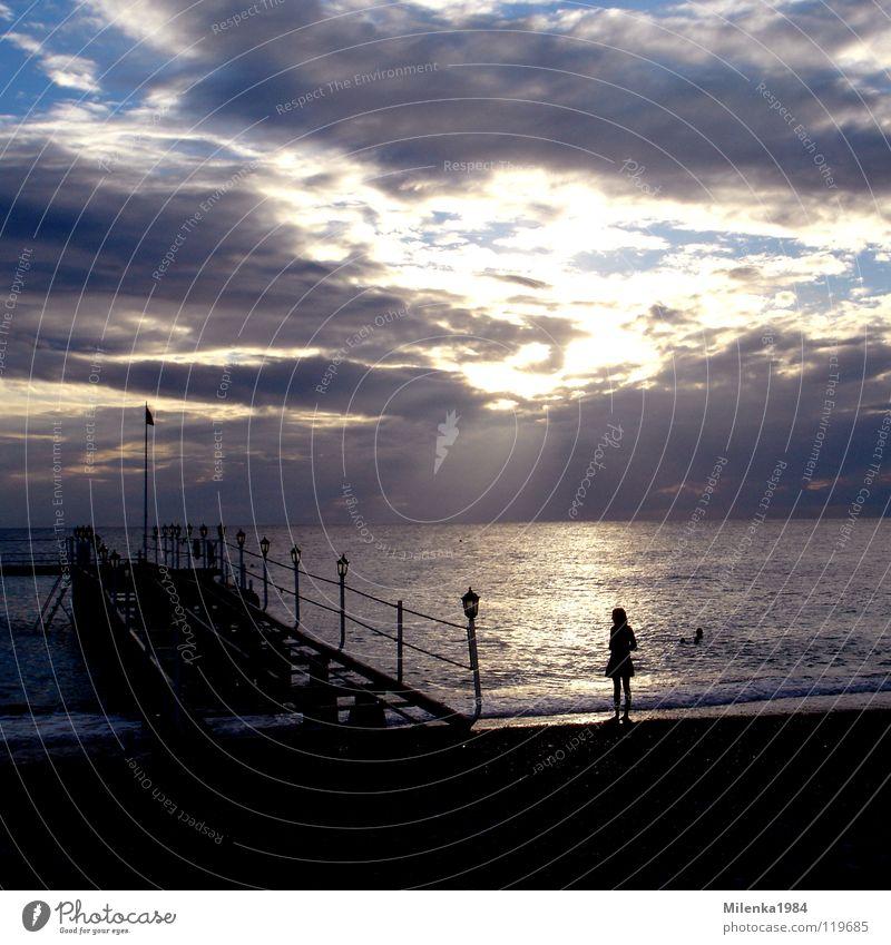 Water Sky Ocean Summer Beach Vacation & Travel Coast Bridge Romance Kitsch Footbridge