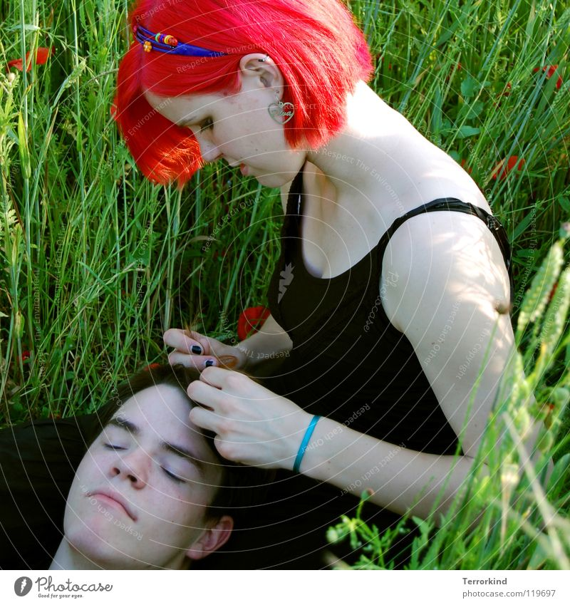 It's one of those hot sky-blue days. Sister Brothers and sisters Dress Black Red-haired Unnatural Hair circlet Hand Concentrate Friendliness Caresses