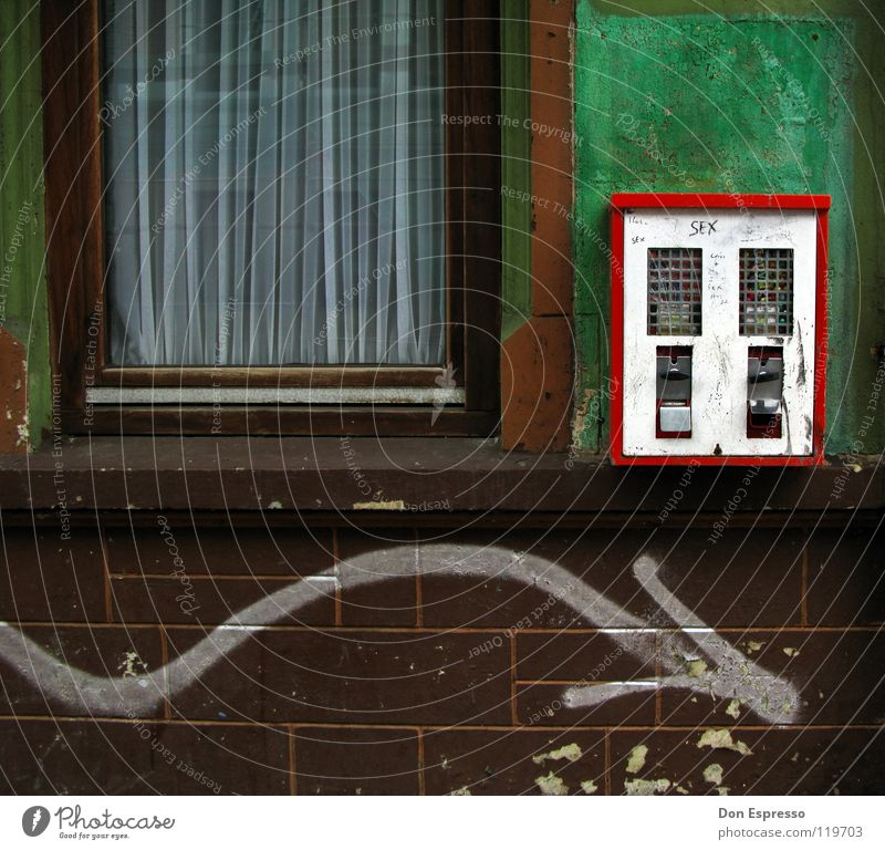 Old Green Loneliness House (Residential Structure) Window Wall (building) Graffiti Wall (barrier) Infancy Glass Facade Dirty Retro Derelict Toys Arrow
