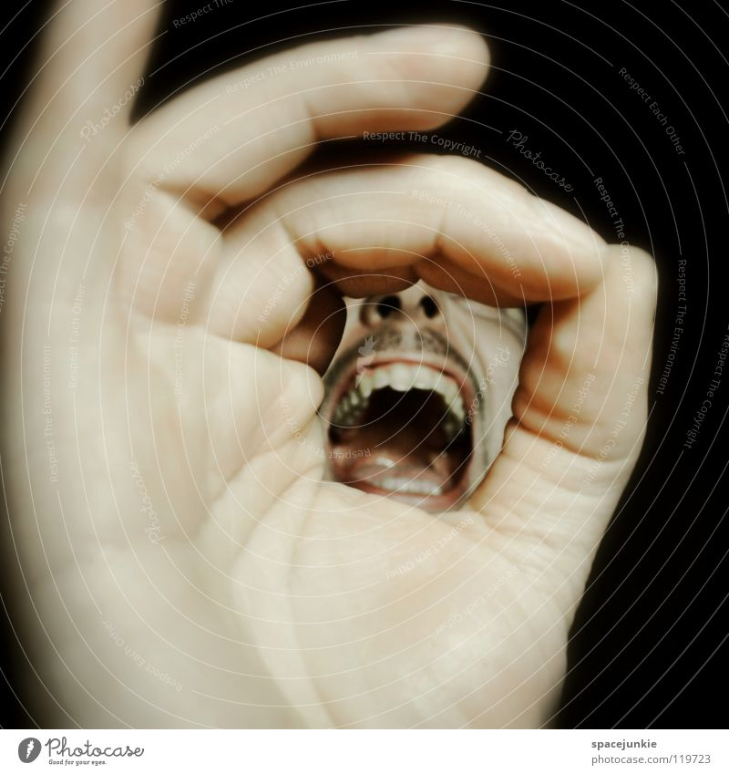 SHOUT Hand Fingers Man Scream Freak Fear Alarming Dark Black Show your teeth Evil Crazy Joy Face Human being Force