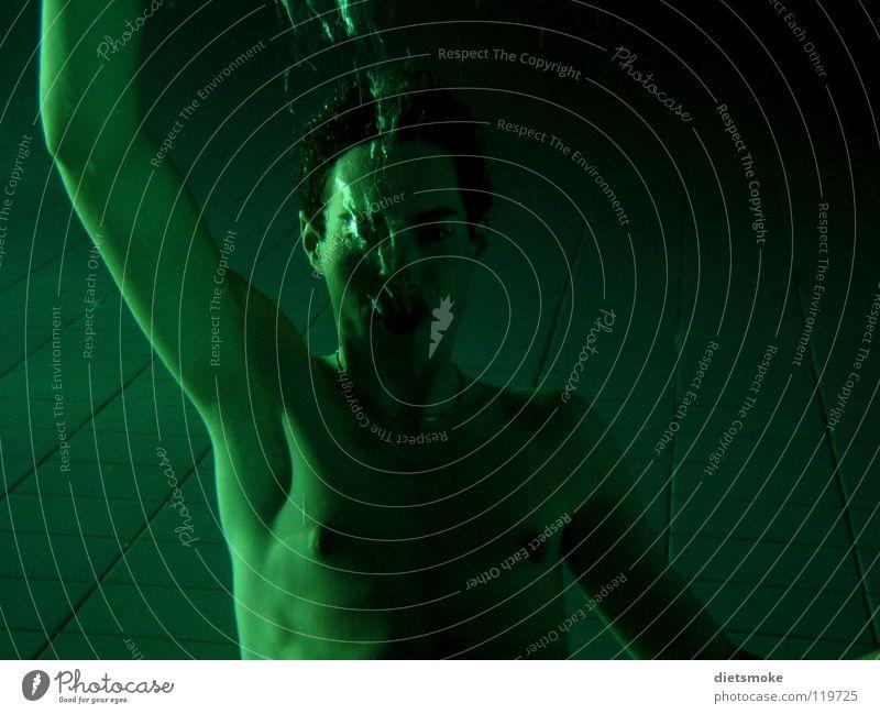 Man Water Green Colour Naked Air Swimming pool Blow Air bubble Aquatics Drown