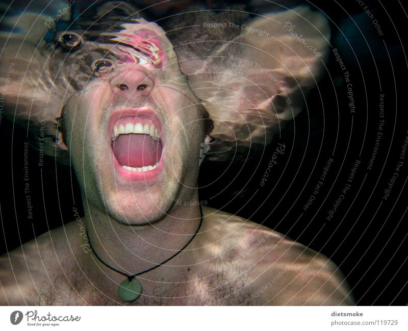 Man Water Fear Dangerous Teeth Swimming pool Scream Creepy Underwater photo Panic Thriller Abstract Surface of water