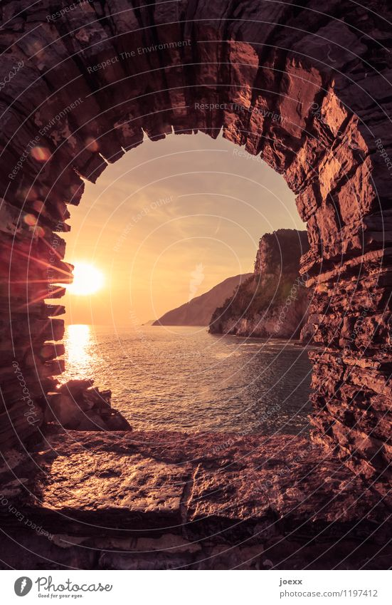 You stay Vacation & Travel Tourism Far-off places Summer Horizon Beautiful weather Rock Coast Ocean Facade Window Tourist Attraction Old Brown Yellow Romance