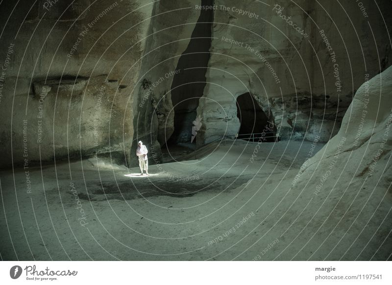 Light shape II Calm Meditation Vacation & Travel Tourism Adventure Expedition Human being Masculine Man Adults 1 Elements Earth Canyon Cave West Jerusalem