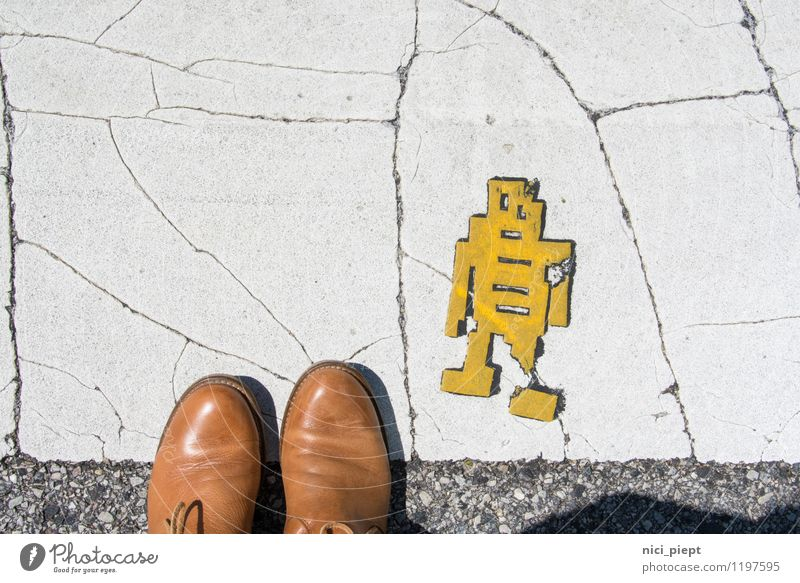 right before left! Vacation & Travel Tourism Feet 1 Human being Work of art Street life Walking Stand Old Authentic Retro Town Yellow Zebra crossing Street art