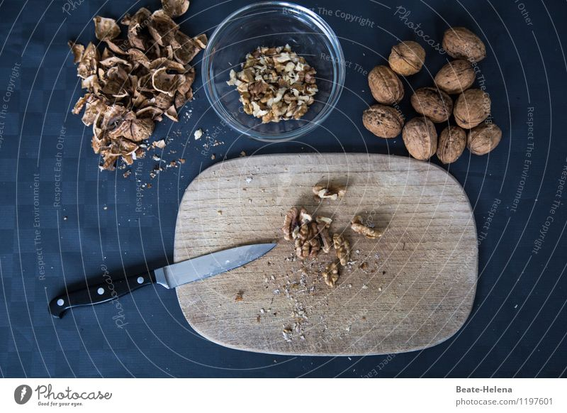 Very pleasurable Food Nut Walnut Nutrition Organic produce Vegetarian diet Slow food Bowl Knives Chopping board Beautiful Healthy Wellness Nature Plant