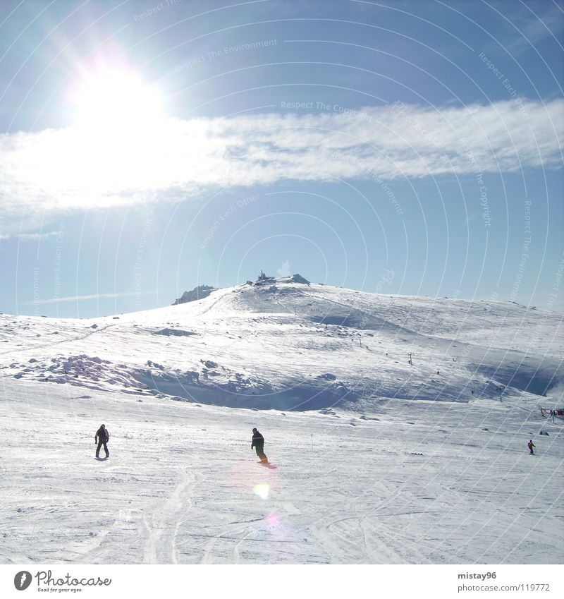 heaven Sky Clouds Joy Winter Mountain sun sunny Skiing blue white Beautiful weather Freedom Nature