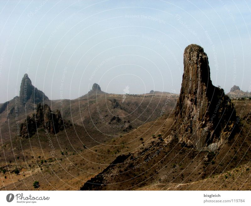 Calm Loneliness Far-off places Mountain Landscape Large Rock Africa Desert Hill Badlands Sparse Lunar landscape