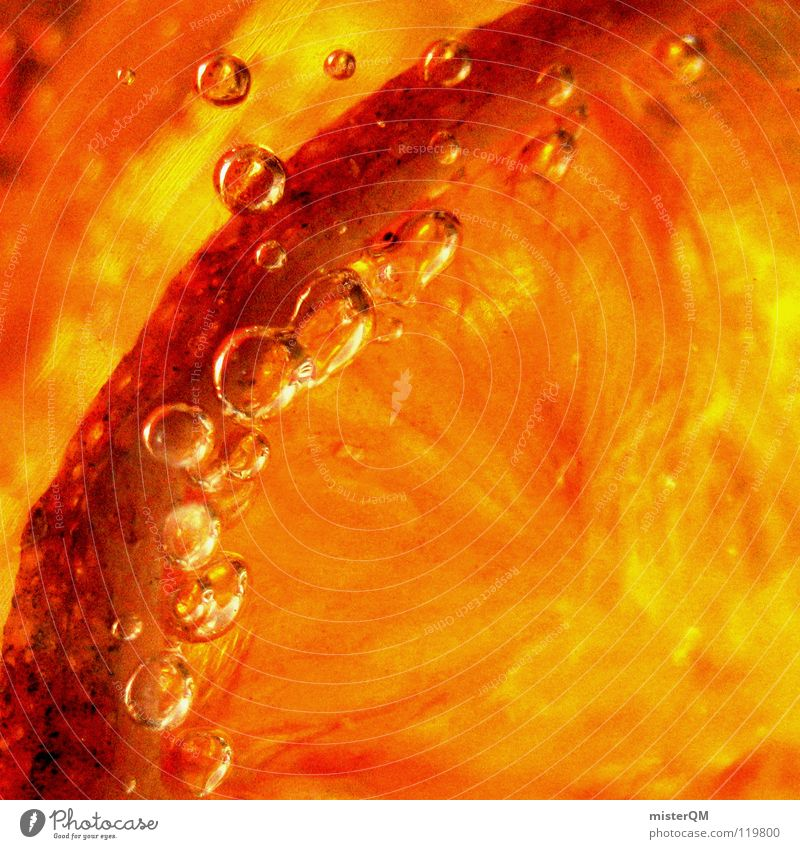 Fruit Beverage Orange Background picture Air bubble Partially visible Section of image Fruity Iced tea Amber coloured Orange slice Bright Colours