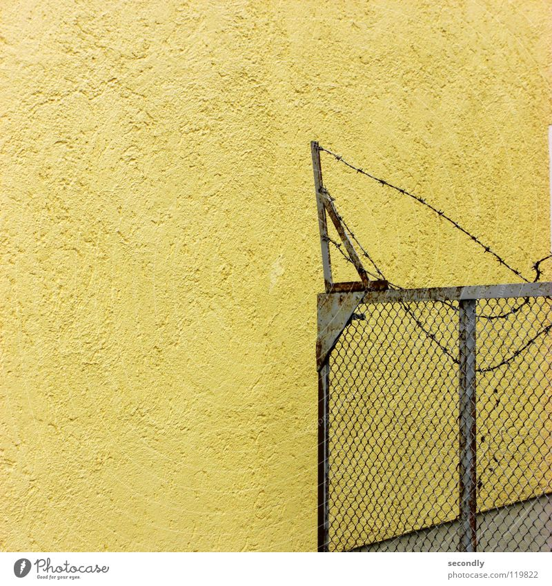 Old Yellow Wall (building) Gate Derelict Rust Warning label Hideous Grating Fold Barbed wire Warning sign Partition
