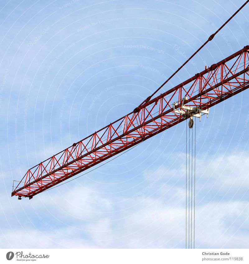 crane Crane Construction site Red New building Construction worker Truck Work and employment High-rise Steel Aspire Wire Clouds Craft (trade) Sky Blue Build