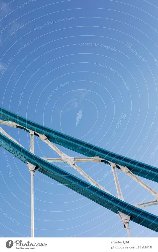 London blue. Art Esthetic Contentment Tower Bridge Blue sky Steel Steel construction Bridge railing Architecture Colour photo Subdued colour Exterior shot