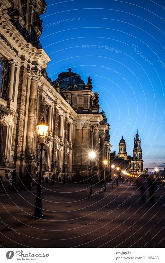 go for a walk Vacation & Travel Tourism Trip Sightseeing City trip Night sky Dresden Saxony Germany Town Old town Church Tower Manmade structures Building
