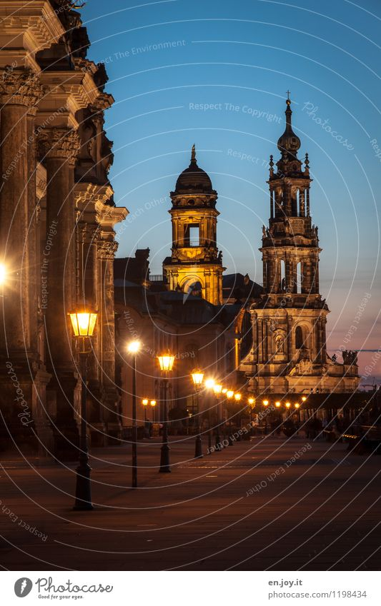 Romantic Vacation & Travel Tourism Sightseeing City trip Summer vacation Night sky Dresden Saxony Germany Town Old town Church Tower Manmade structures Building