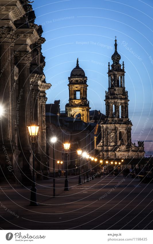 historic Vacation & Travel Tourism Sightseeing City trip Night sky Dresden Saxony Germany Tourist Attraction Landmark Brühlsche Terrasse Hofkirche Illuminate