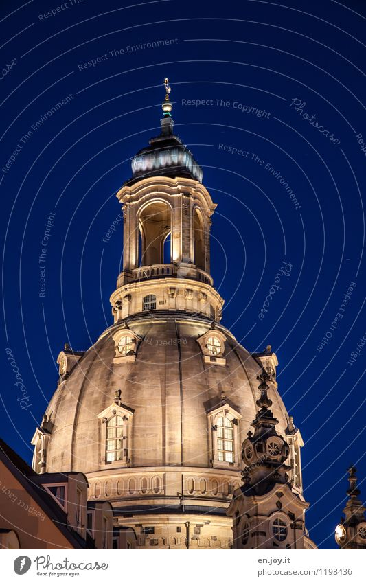steeped in history Vacation & Travel Tourism Sightseeing City trip Night sky Dresden Saxony Germany Church Tower Building Domed roof Tourist Attraction Landmark