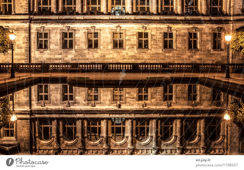 Mirrored Vacation & Travel Sightseeing City trip Night life Dresden Saxony Germany Manmade structures Building Architecture Wall (barrier) Wall (building)