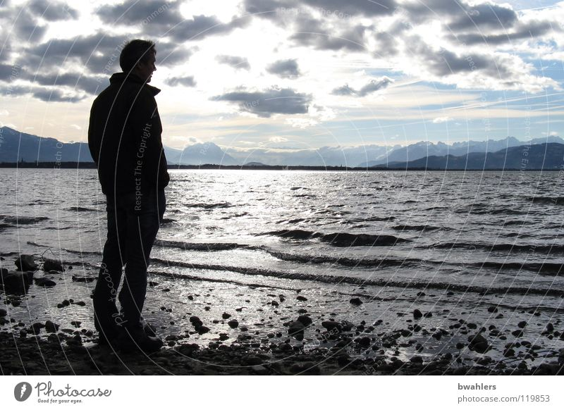 Man Water Sky Clouds Far-off places Mountain Lake Moody Waves Coast Alps Lake Constance