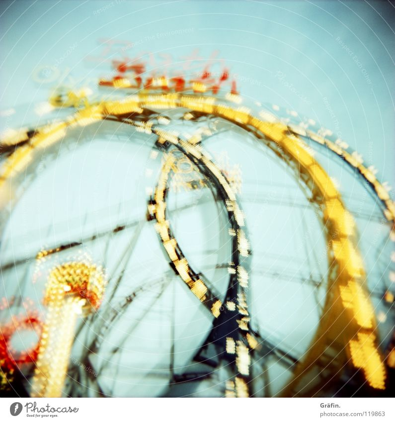 DoOm continues Holga Long exposure Round Rotate Fairs & Carnivals Large Might Childhood memory Tradition Heiligengeistfeld Attraction Romance Wobble Shaky Dark