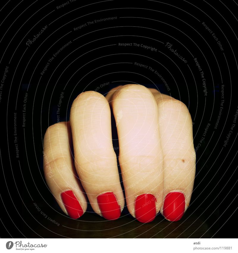 Woman Hand Beautiful Red Black Fingers Nail Dominant