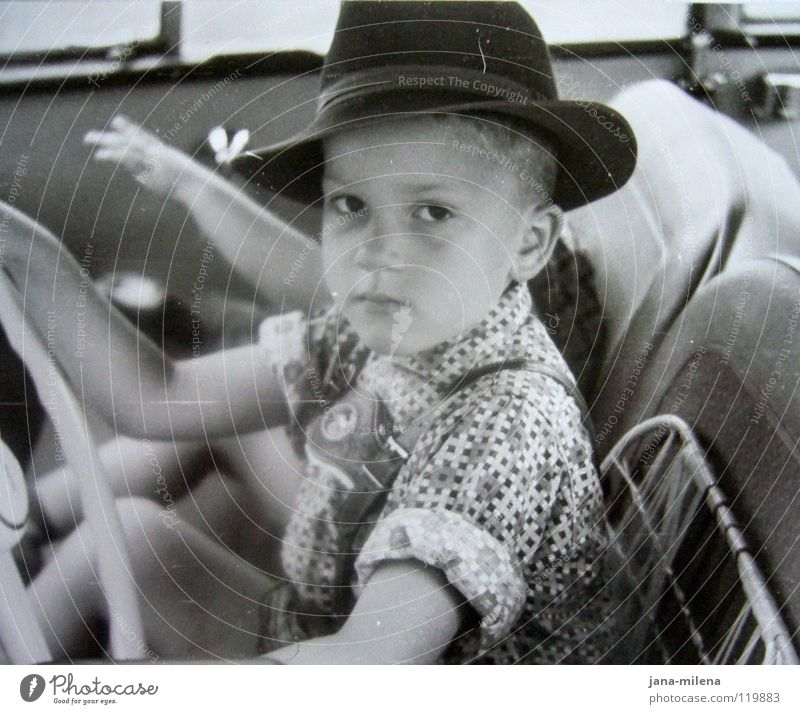 Child Old Vacation & Travel Boy (child) Playing Lanes & trails Car Small Trip Motor vehicle Retro Driving Hat Shirt Conduct Nostalgia