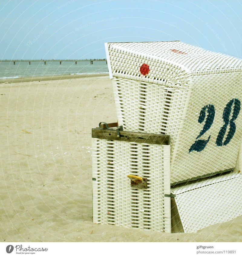 Sky Ocean Beach Vacation & Travel Calm Far-off places Sand Coast Leisure and hobbies Digits and numbers Baltic Sea Beach chair Darss Prerow