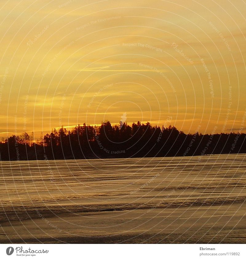 Golden Evening Yellow Lake Winter Frozen Glittering Black Clouds in the sky Dusk Afternoon White Calm Stripe Coast Body of water Horizon Sunset Cold Moody