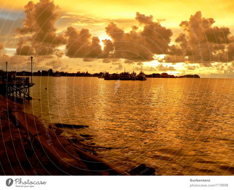Borneo's Gold Malaya Promenade Sunset Watercraft Clouds Dusk Coast Jetty Ocean Harbour Beach kota kinabalu Evening Beautiful