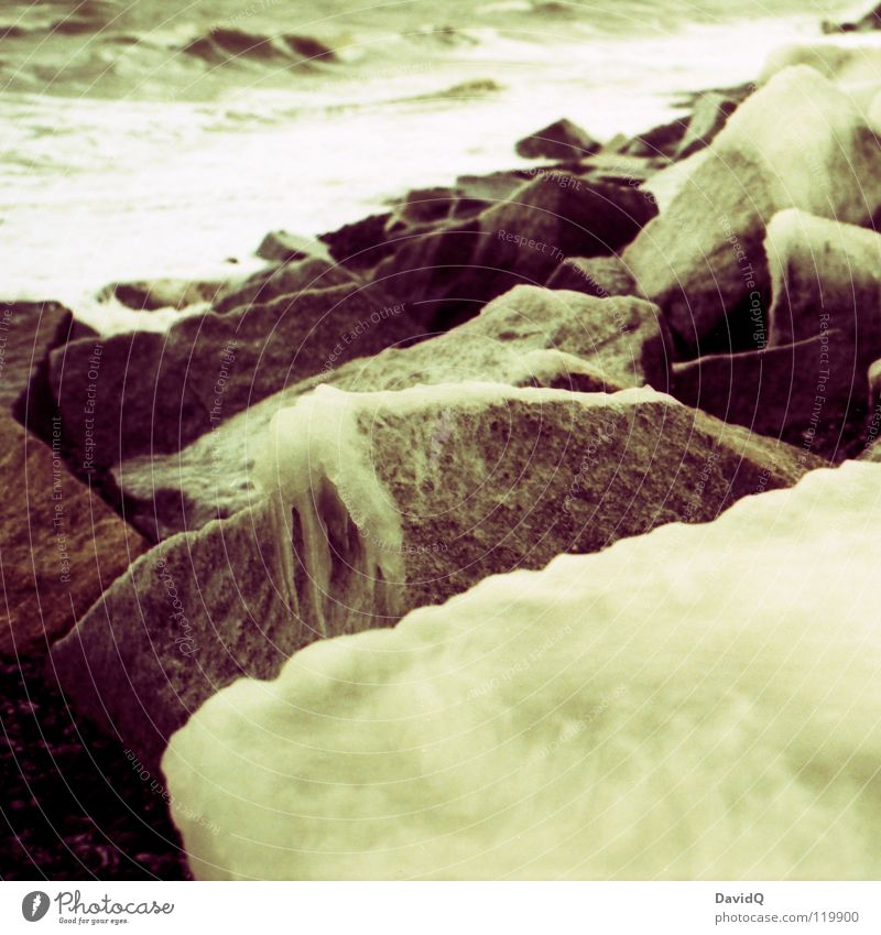 Icy Baltic Sea Ocean Waves Sea water Cold Coast Beach Surf Winter Water Ice Rock Stone Kodak elite chrome cross