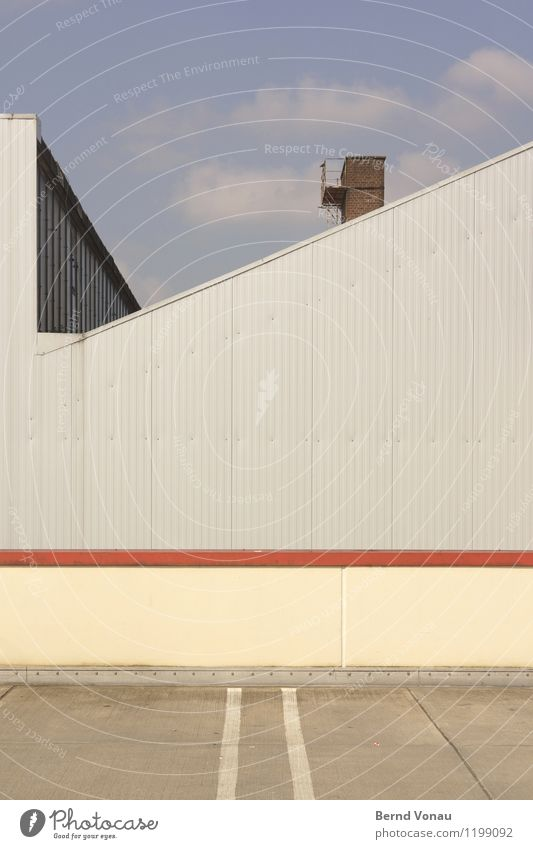 nevertheless Small Town Wall (barrier) Wall (building) Blue Gray Red Chimney Metal Parking lot Industry Industrial Gloomy Geometry Direct Lined Tilt Yellow Tin