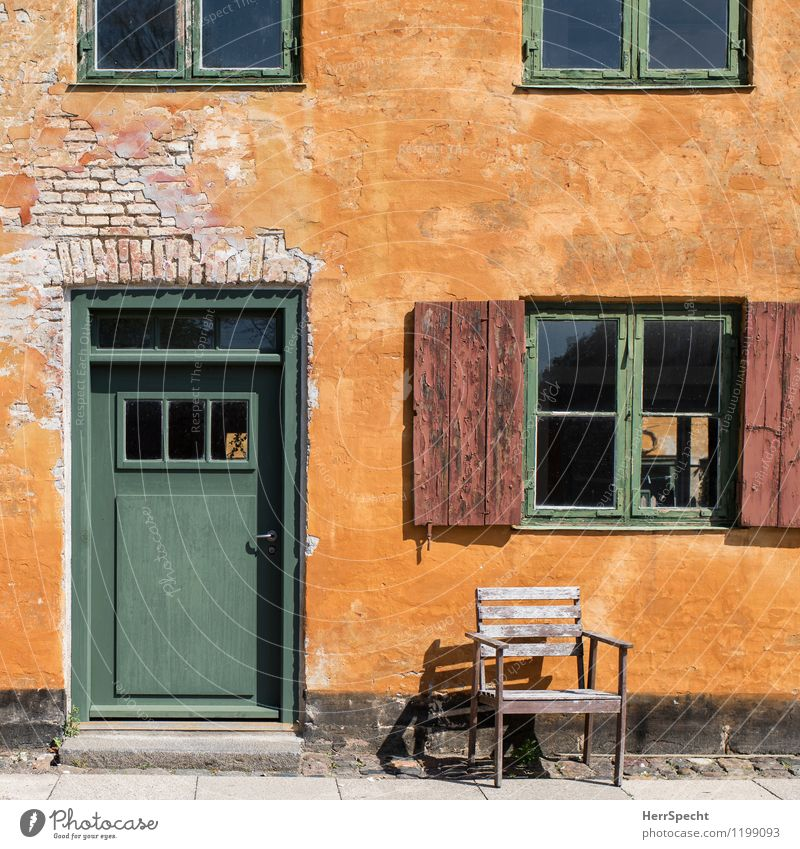 SUNPLACE Copenhagen Old town Manmade structures Building Architecture Wall (barrier) Wall (building) Facade Window Door Stone Wood Beautiful Yellow Green Chair