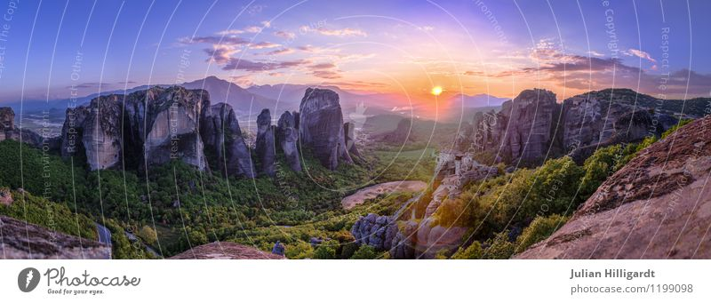 Meteora view of floating monasteries Lifestyle Leisure and hobbies Vacation & Travel Far-off places Freedom Summer Mountain Environment Landscape Plant Sky