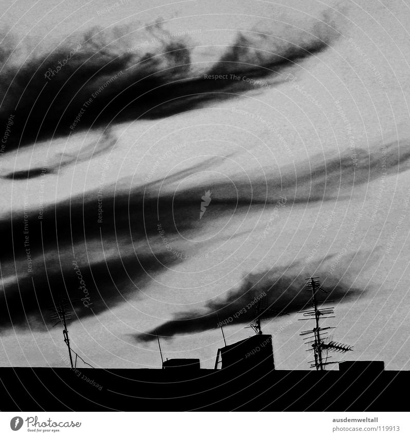 Sky House (Residential Structure) Black Clouds Dark Emotions Gray Fear Roof Chimney Panic Antenna Disaster Apocalypse Apocalyptic sentiment