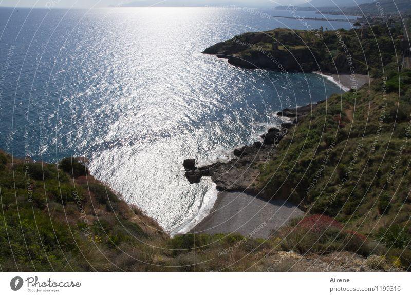 more sea in Sicily... Landscape Elements Water Beautiful weather Bushes macchia Hill Coast Bay Ocean Mediterranean sea Beach Cliff Sand Glittering Maritime Town