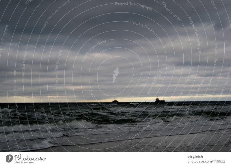 Water Sky Ocean Beach Clouds Far-off places Gray Watercraft Waves Large Navigation Baltic Sea Evening sun