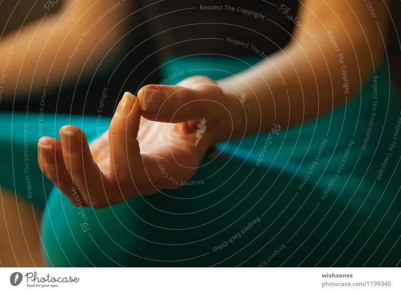 Hand in Meditation Pose Healthy Wellness Harmonious Well-being Contentment Relaxation Calm Yoga Human being Feminine Woman Adults Fingers 1 Breathe Sit Yellow