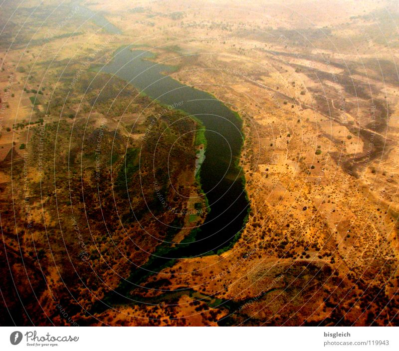 Cameroon from above III Colour photo Aerial photograph Deserted Bird's-eye view Far-off places Freedom Earth Sand River bank Brook Africa Airplane Flying