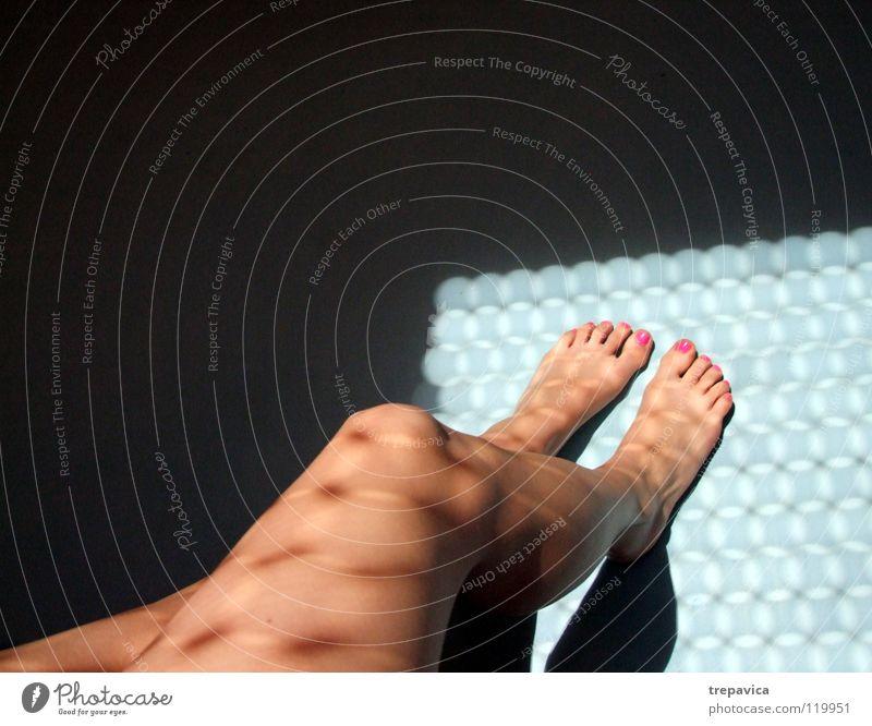 Woman Water Sun Blue Black Feminine Naked Feet Legs Skin Pink Toes Barefoot Nail Nail polish Varnished