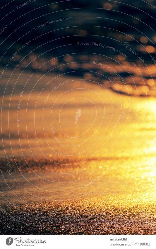 Gold sand. Art Esthetic Contentment Wellness Relaxation Idyll Remote Sandy beach Walk on the beach Beach life Coast Waves Vacation & Travel Romance