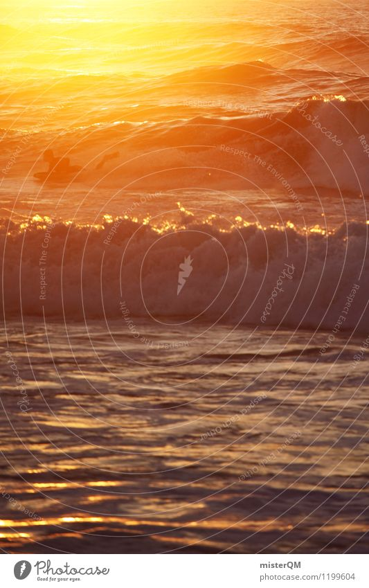 sunset surf. Art Adventure Esthetic Contentment Surfer Surfing Swell Waves Undulation Wave action Wavy line Wellenkuppe Sports Athletic Summer vacation Summery