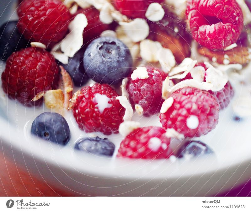 Breakfast delicacies II Art Esthetic Contentment Cereal Berries Blueberry Raspberry Milk Healthy Eating Oat flakes Nut Bowl Delicious Morning break Colour photo
