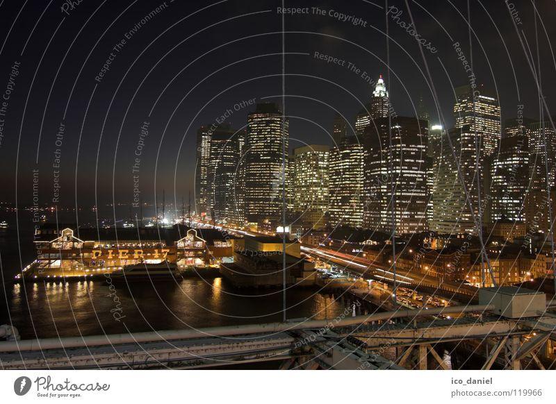 Water City Dark Lighting Transport High-rise Bridge USA River Harbour Skyline Americas Jetty Downtown Dusk Night sky