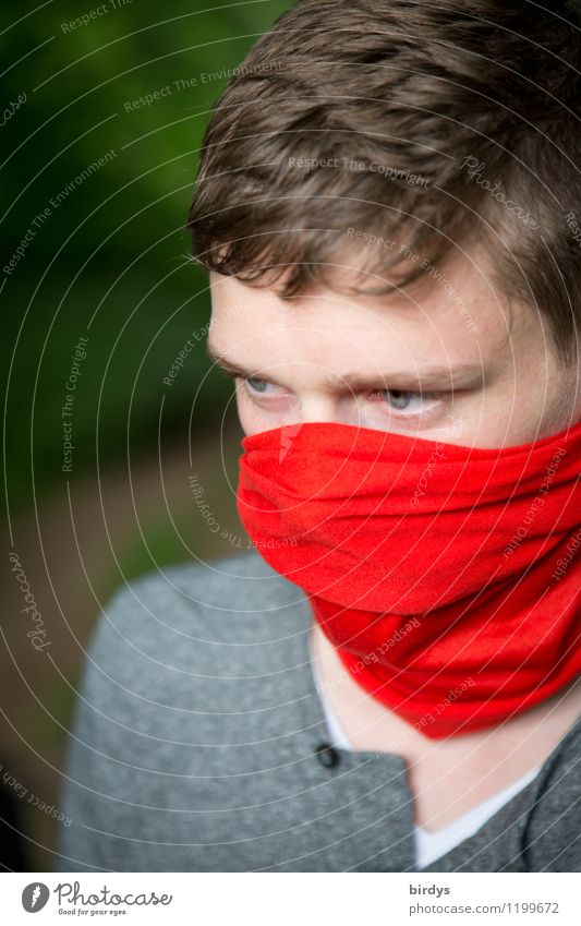 Young man with mouth and nose protection, red cloth around mouth and nose Style Adventure Masculine Youth (Young adults) 1 Human being 13 - 18 years Child
