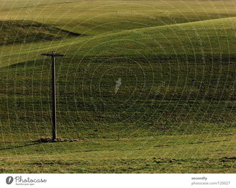 Green Calm Meadow Grass Line Aviation Hill Agriculture Electricity pylon Harmonious
