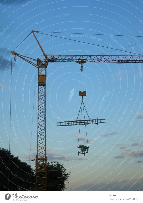 Sky Blue Technology Construction site Machinery Ladder Crane Dusk Power Saw Closing time Electrical equipment Construction crane Circular saw