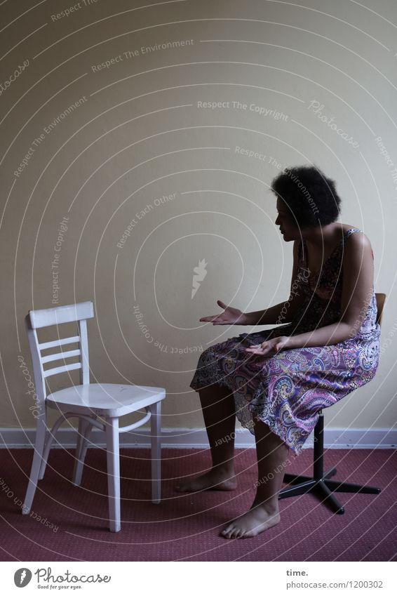 white chair | black woman (II) Chair Room Carpet Woman Adults 1 Human being Dress Black-haired Curl Afro Life Endurance Unwavering Stress Mistrust Inequity