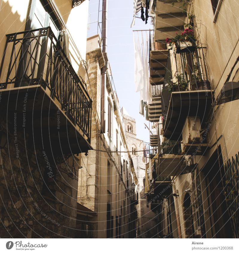 In the south Italy Sicily Village Small Town Old town House (Residential Structure) Facade Balcony Church spire Street Alley Laundry Clothesline Poverty