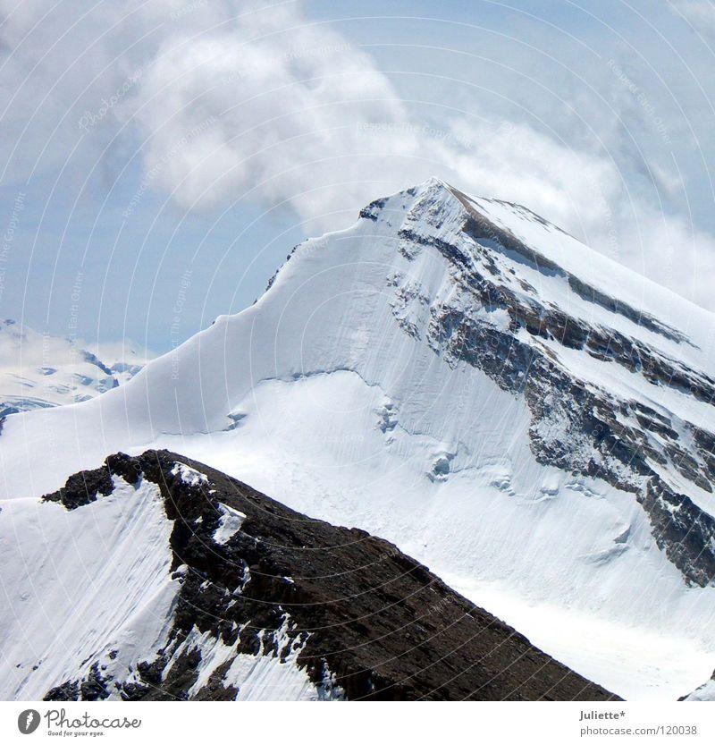 Big Mountain III Cold Clouds Ice Hiking Mountaineering White Switzerland Sky Snow Rock Wind dashing Climbing Blue